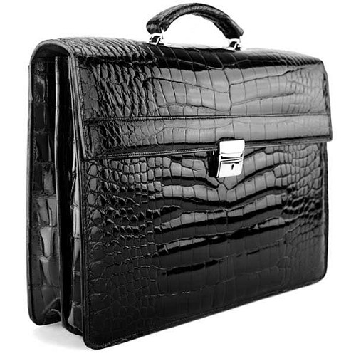 Jack Georges American Alligator Double Gusset Flapover Briefcase handmade in Black Lousiana alligator.