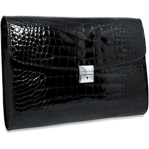 Jack Georges American Alligator Underarm Briefcase  in black Lousiana Alligator with nickel hardware.