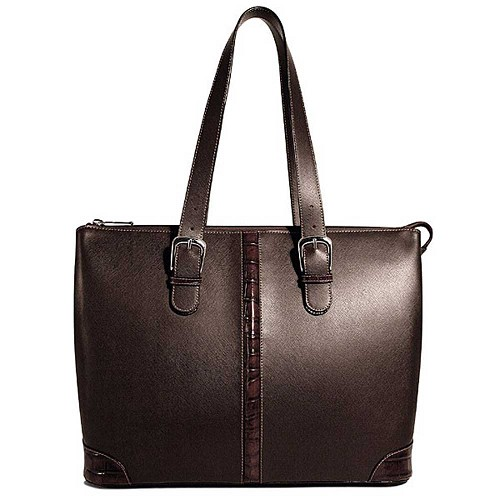 Prestige Madison Avenue Ladies Leather Tote in Brown with Croco Trim
