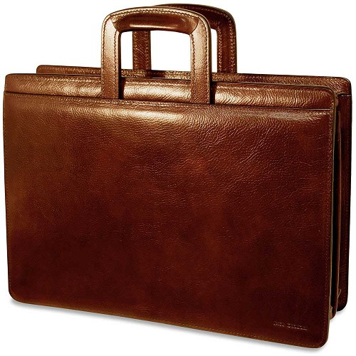 Jack Georges Sienna Slim Leather Briefcase handmade in hand stained vegetable-tanned cognac Italian leather.