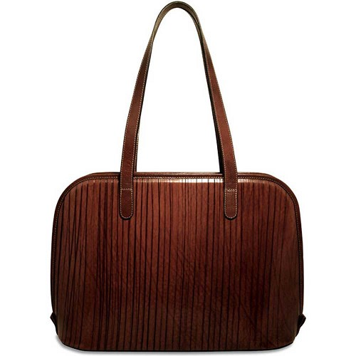 Jack Georges Monserrate Large Three-Way Zip Tote crafted in hand-stained Italian leather with serrated finish.