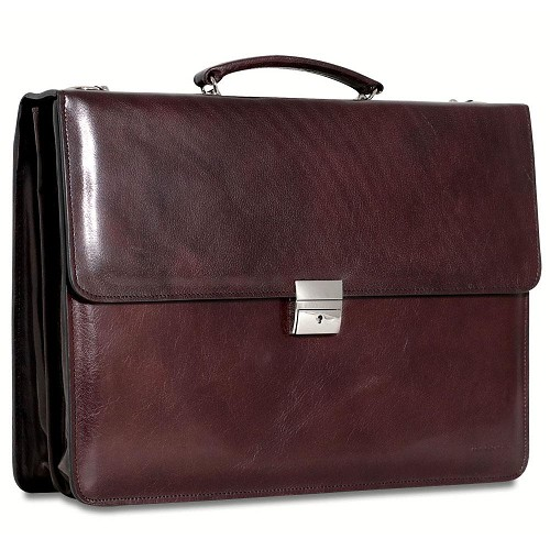 Sienna Slim Double Gusset Flap Over Briefcase in hand-stained Cherry Tuscan leather.