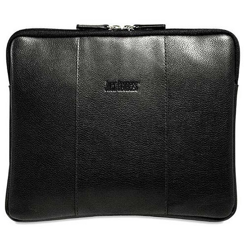 SOHO Collection iPad/tablet sleeve handmade in black pebble grained leather.