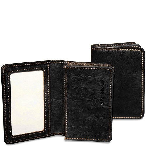 Jack Georges Voyager Business Card Holder in Black hand-stained buffalo leather.