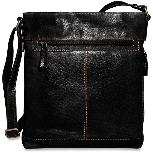 Jack Georges Voyager Crossbody Bag #7312 with Top Zip closure in vegetable re-tanned buffalo leather.