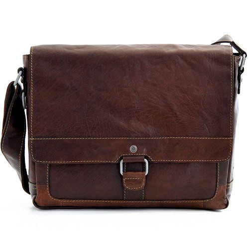 Jack Georges Voyager Slim Messenger Bag handmade in hand-stained brown buffalo leather.