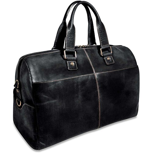 Voyager Duffel Bag handmade in black buffalo leather.