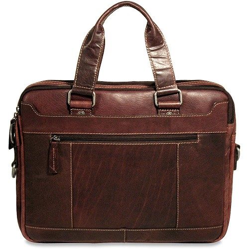 Jack Georges Voyager Leather Slim Briefcase handmade in hand-stained brown buffalo leather.