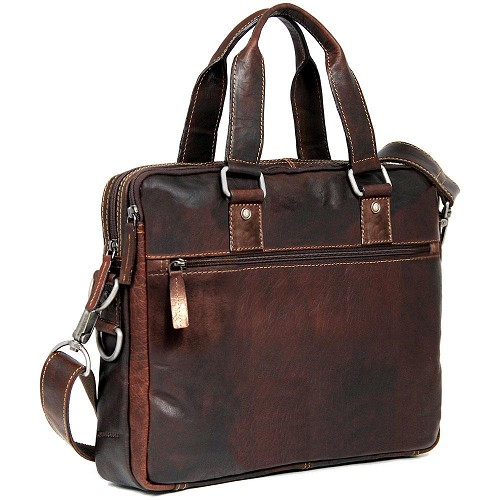 Jack Georges Voyager Leather Slim Double Section Briefcase handmade in hand-stained brown buffalo leather.