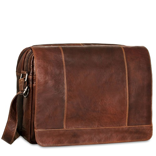 Voyager Large Travel Messenger Bag handmade in hand-stained brown buffalo leather.