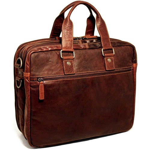 Jack Georges Voyager Leather Triple Gusset Large Travel Briefcase handmade in hand-stained buffalo leather.