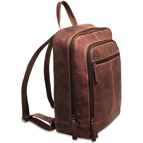 Jack Georges Voyager Laptop Backpack in vegetable re-tanned brown buffalo leather.