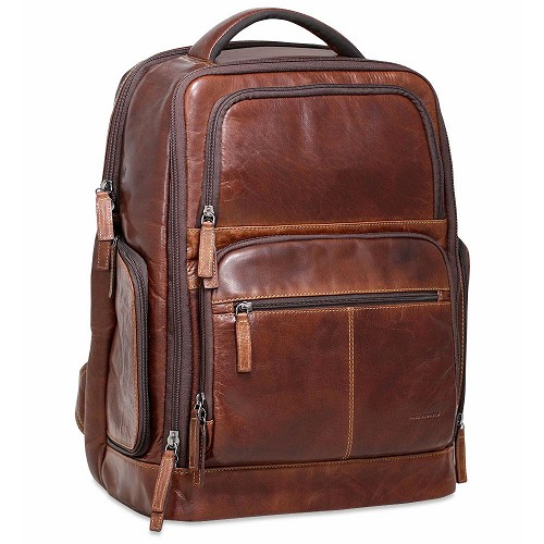 Jack Georges Voyager Tech Backpack in vegetable brown hand-stained buffalo leather.