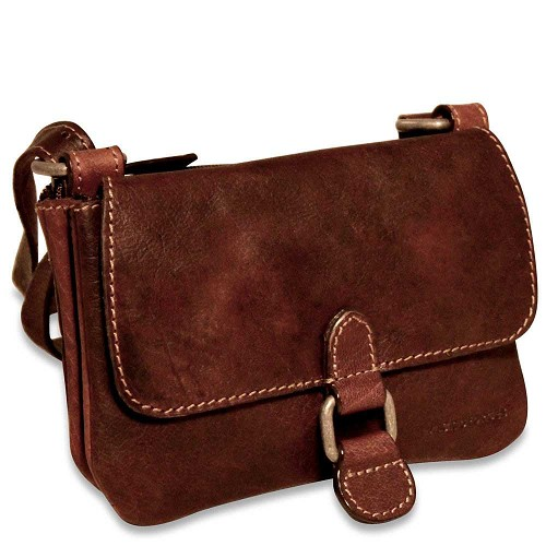 Jack Georges Mini Crossbody Bag in vegetable Brown re-tanned buffalo leather.