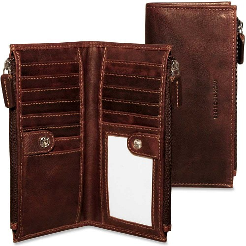 Jack Georges Voyager Slim Double Zip Wallet  with id window. Holds 13 credit cards.
