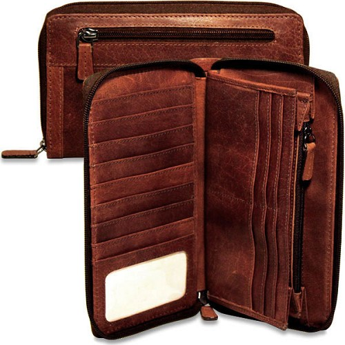 Jack Georges Voyager Large Travel Wallet is handmade in hand-stained buffalo leather.