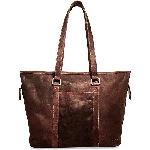 Jack Georges Voyager Shopper Tote Bag handmade in hand-stained brown buffalo leather.