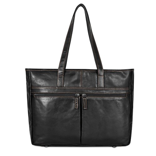 Voyager Uptown Tote handmade in black hand-stained buffalo leather.