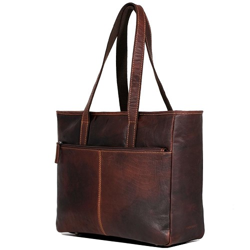 Jack Georges Voyager Leather Business Tote Bag handmade in hand-stained brown buffalo.