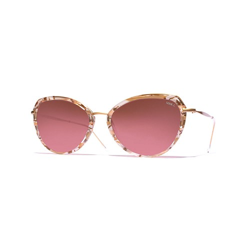 Helios 10730S Cal.53 Women's Butterfly Sunglasses handmade with Brown Marble cellulose acetate and Brown faded Rose optical glass HHG High Quality Polarized Mineral Lens.