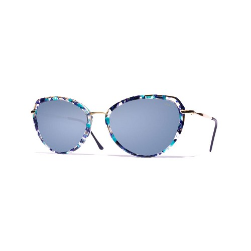 Helios 10730S Cal.53 Women's Butterfly Sunglasses handmade with Blue marble effect cellulose acetate and Blue optical glass HHG High Quality Polarized Mineral Lens.