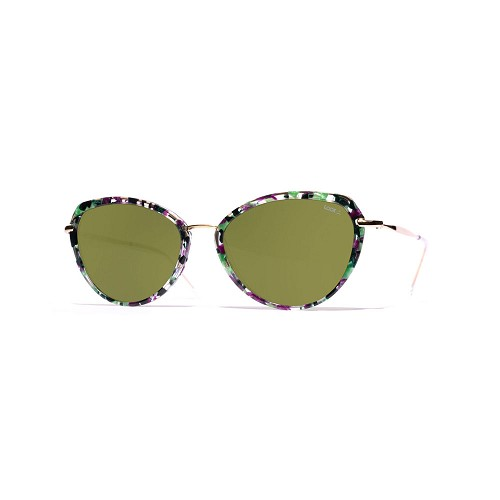 Helios 10730S Cal.53 Women's Butterfly Sunglasses handmade with Violet & Green marble effect cellulose acetate and Green optical glass HHG High Quality Polarized Mineral Lens.