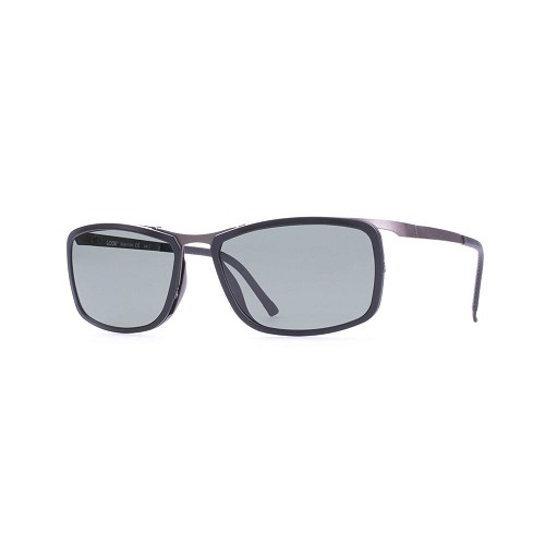 Helios 10541S Cal.56 Men's Sunglasses handmade with Rectangular Frame in Dark Grey acetate and Titanium Grey metal. Grey optical glass HHG High Quality Polarized Mineral Lens.