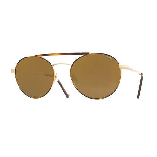 Helios 10675S Cal.53 Asian Fit Unisex Aviator Sunglasses handmade with Pilot Frame in Gold Metal with acetate Havana circles and bridge cover. Brown optical glass HHG High Quality Polarized Mineral Lens.