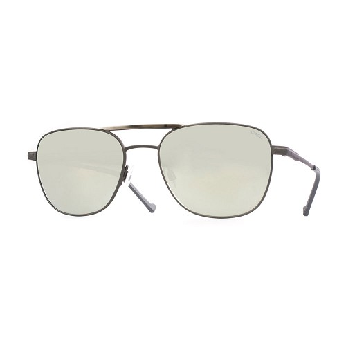 Helios 10676S Cal.55 men's Asian fit Pilot sunglasses handmade with rectangular aviator frame in Grey metal with Grey Horn acetate bridge cover. Silver Mirror optical glass HHG High Quality Mineral Lens.