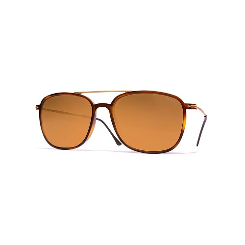 Helios 04935S Cal.54 Unisex Square Sunglasses handmade with frame in Dark Havana acetate and Gold metal. Brown optical glass HHG High Quality Polarized Mineral Lens.