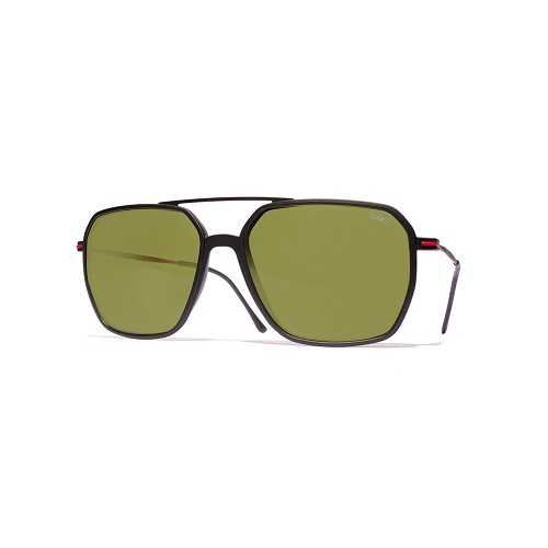 Helios 04936S Cal.57 Unisex Rectangle Sunglasses handmade with frame in Black acetate and Black and Red metal. Green optical glass HHG High Quality Polarized Mineral Lens.