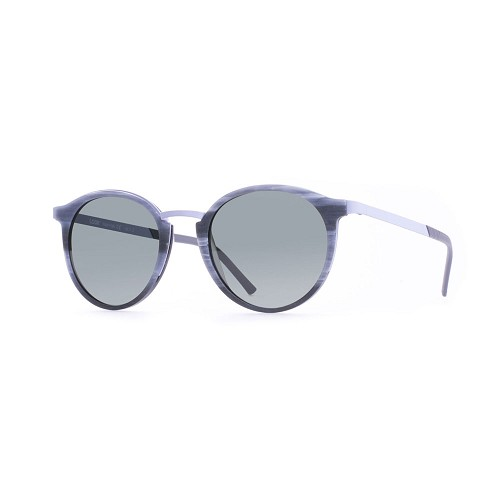 Helios 10517S Cal.49 Unisex Sunglasses handmade with Pantos Frame in Grey Horn acetate and LIght Grey metal. Grey optical glass HHG High Quality Polarized Mineral Lens.