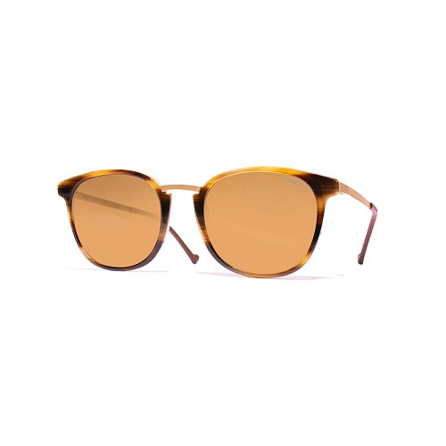 Helios 10671S Cal.50 Unisex Sunglasses handmade with Rectangular frame in Striped Brown Havana acetate and Gold metal. Brown optical glass HHG High Quality Polarized Mineral Lens.