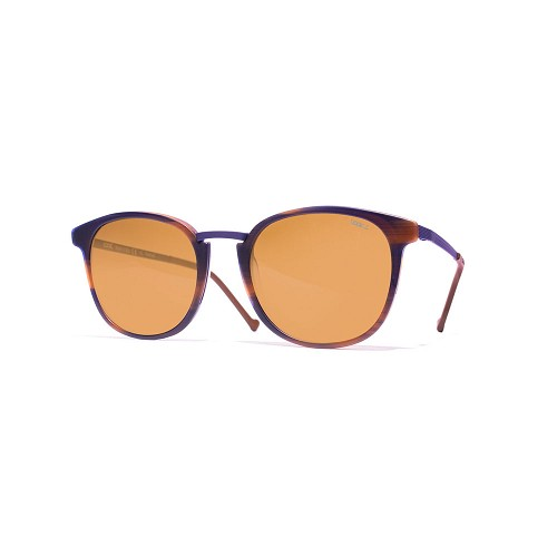 Helios 10671S Cal.50 Unisex Sunglasses handmade with Rectangular frame in Havana acetate and Purple Blue metal. Brown optical glass HHG High Quality Polarized Mineral Lens.