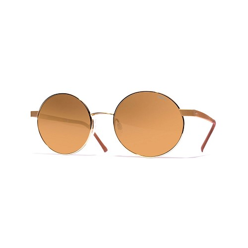 Helios 10634S Cal.52 Women's Round Sunglasses handmade with metal frame in gold. Brown optical glass HHG High Quality Polarized Mineral Lens.