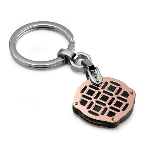 Montegrappa Filigree Key Ring - Rose Gold PVD featuring octagonal pattern.