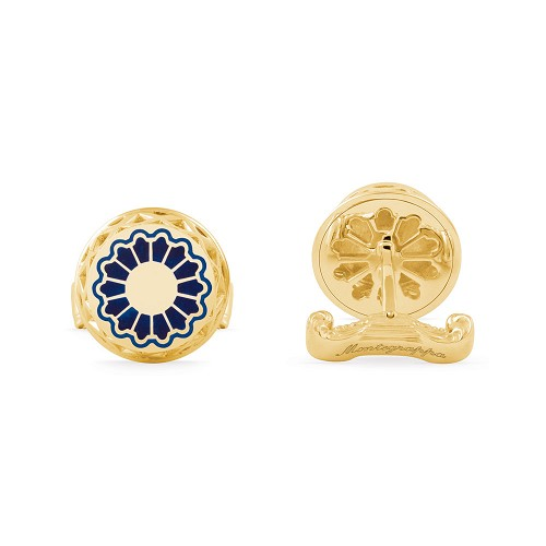 Montegrappa Teatro Cufflinks in 18kt Gold with diamond golf ball.