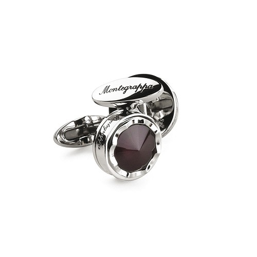 Montegrappa Parola Cufflinks - Stainless Steel with Mauve Top. Crafted in stainless steel; complements Parola pens.