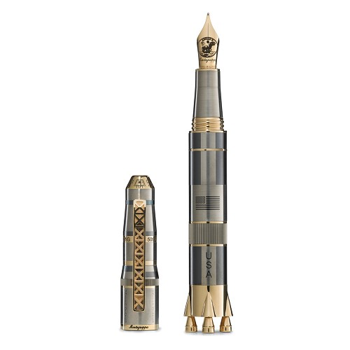 Montegrappa Moon Landing Limited Edition Gold Fountain Pen mimics the Apollo11 command module and stages of Saturn V rocket. Design approved by NASA.