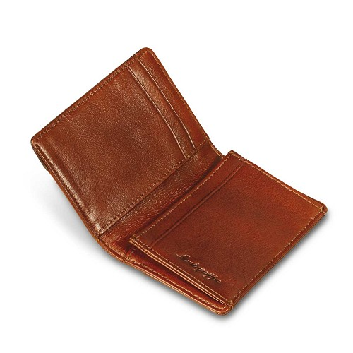 Montegrappa UEFA Champions League Business card wallet handmade in brown calfskin.