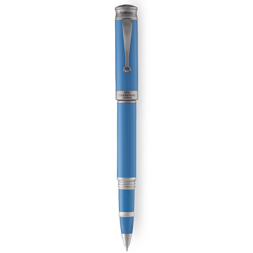 Montegrappa UEFA Champions League Rollerball Pen in light blue resin.