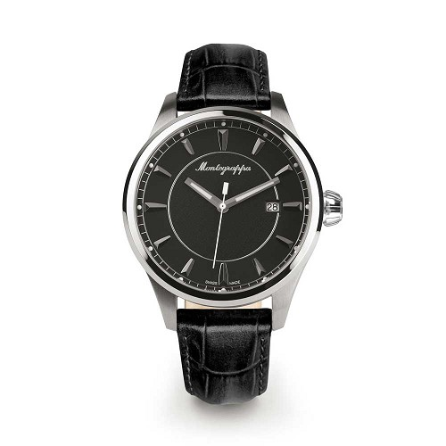 Montegrappa Fortuna Three Hands Stainless Steel Watch - IDFOWALC features a Swiss quartz movement.