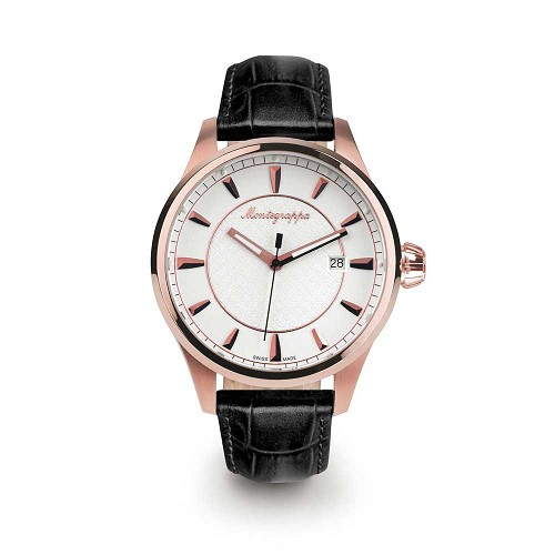 Montegrappa Fortuna Three Hands Rose Gold PVD Stainless Steel Watch - IDFOWARJ features a Swiss quartz movement.