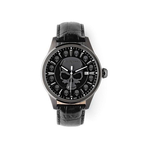 Montegrappa Fortuna Skull Gunmetal Stainless Steel Watch - IDFOWASG features a Swiss quartz movement.