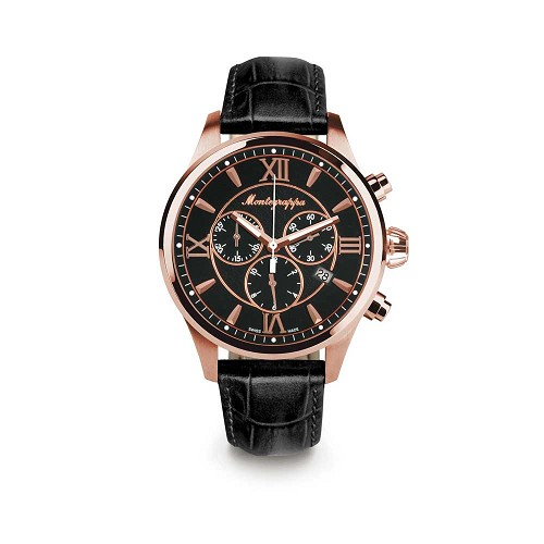 Montegrappa Fortuna Chronagraph Rose Gold PVD Stainless Steel Watch - IDFOWCRC features a Swiss quartz movement.