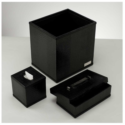 Paolo Guzzetta Black Metallic Crocodile Envelope Box, Tissue Box, and Waste Basket  forms a luxury accessory set bringing luxury decor to any office.