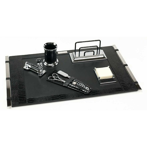 Paolo Guzzetta Deluxe Leather Desk Set - Black Mini Crocodile