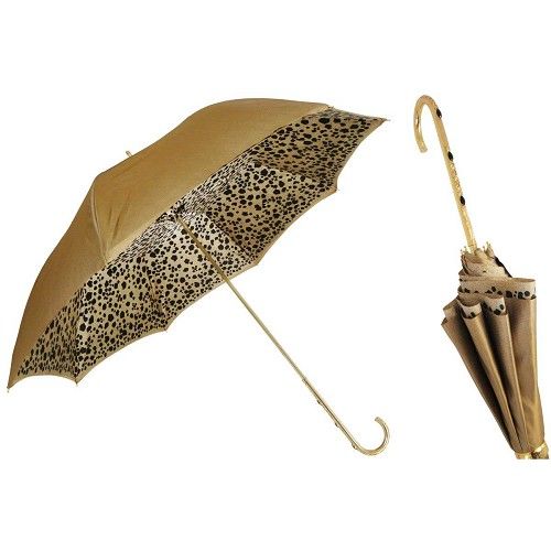 Pasotti Gold Speckled Animalier Women's Umbrella with black jewels in a golden brass handle.