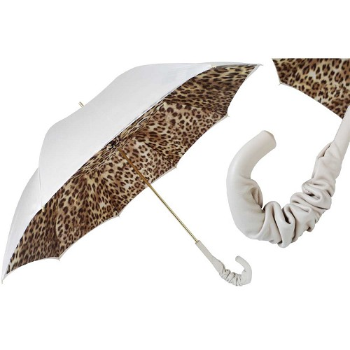 Pasotti White Women's Umbrella with leopard print interior and white leather handle.