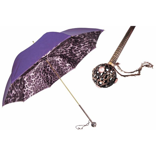 Flamboyant Purple Leopard Print Animalier Women's Umbrella with jeweled brass handle.